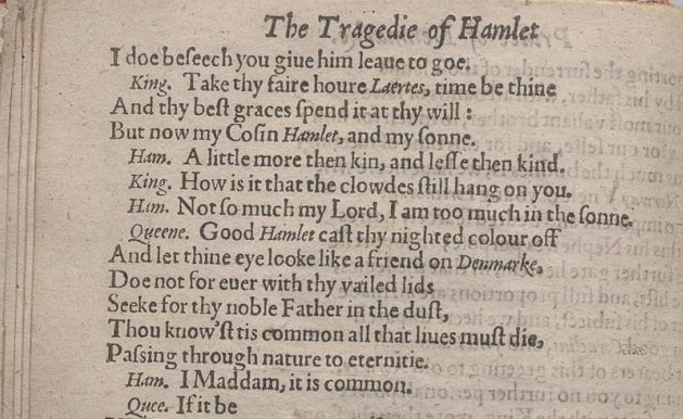 Fragmento de The Tragedy of Hamlet